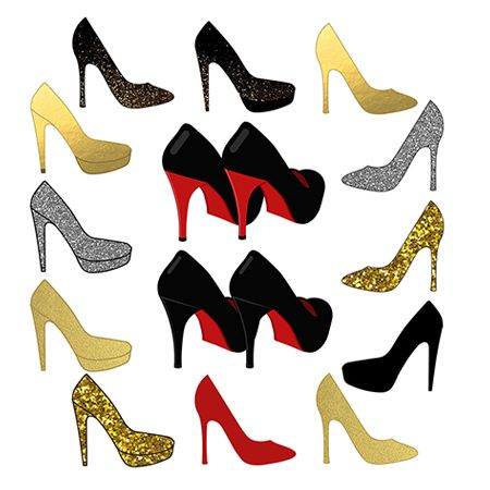 Shoes Clipart, High Heel Clipart, Sparkle Wedding Clipart.