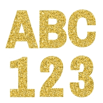 Gold Glitter Letters and Numbers Font Clip Art.