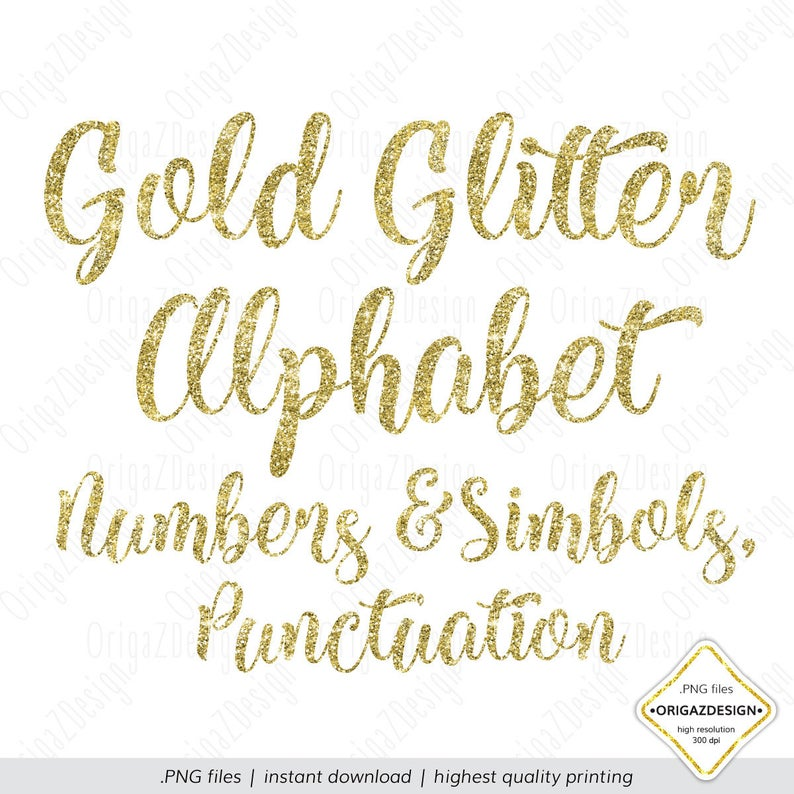Gold Glitter Alphabet, Glitter letters, Gold Glitter sparkle alphabet  Clipart Numbers Digital font Planner stickers clip art PNG for Wedding.