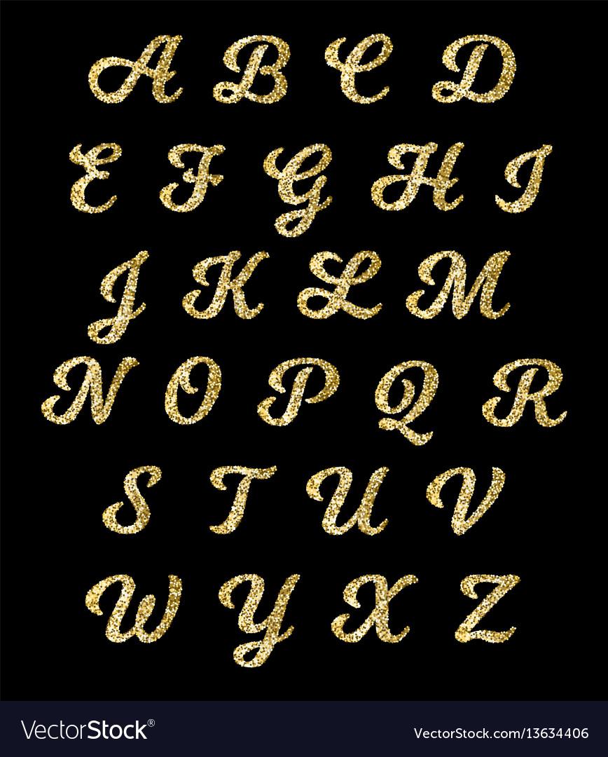 Golden glitter alphabet gold font letters.