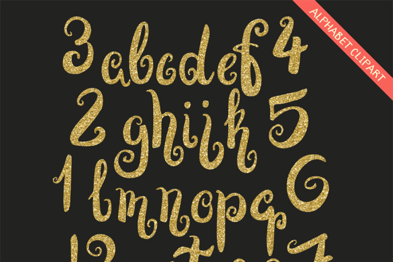 Gold glitter alphabet and numbers clipart By PeDeDesigns.