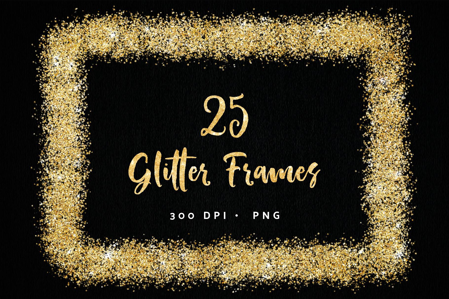 Gold Glitter Overlay Frames Borders Clipart.