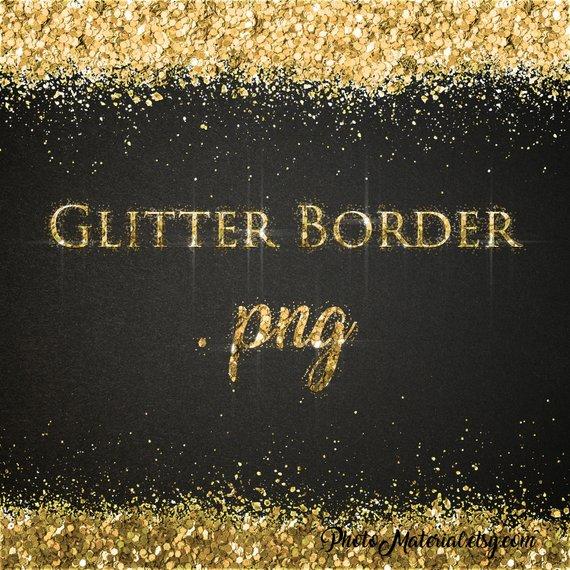 Clipart Digital Frame Gold Glitter Border Overlay Confetti.