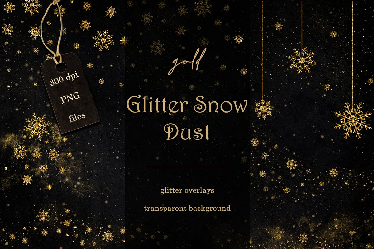 Gold glitter snow dust overlays ~ Graphic Objects ~ Creative.