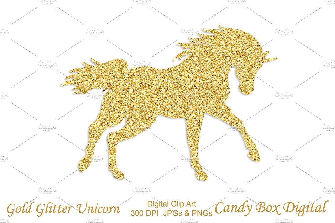 Gold Glitter Unicorn Clipart.