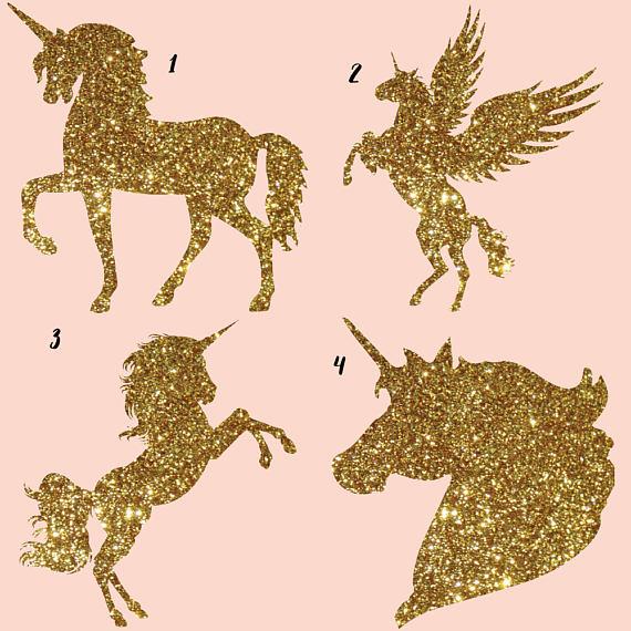 Unicorn clipart, gold glitter clipart, galaxy clip art, cute unicorn.