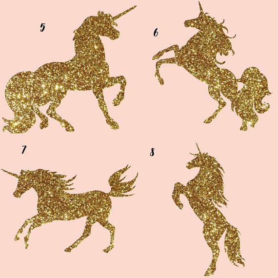 Gold glitter and Galaxy Unicorns Clipart.