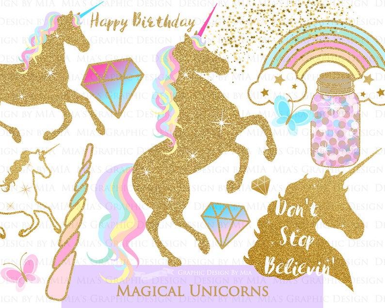 Magical Unicorns, Gold Glitter Unicorns, Einhorn, Unicorn Digital, Unicorn  Clip Art.