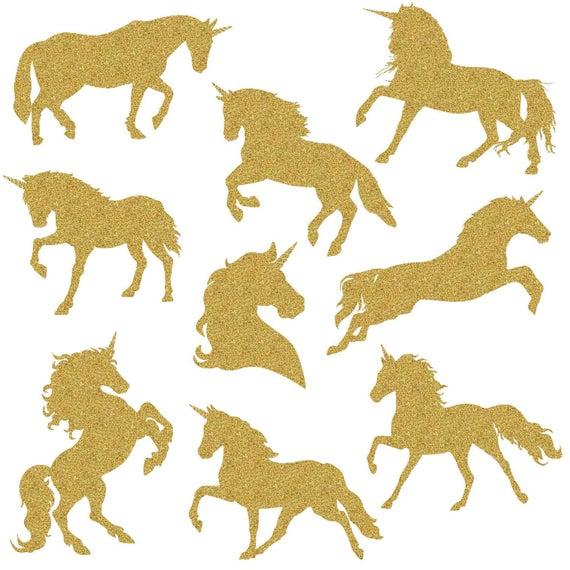 Gold Glitter Unicorn, Magical Unicorns, Unicorn silhouette, Unicorn  scrapbook, Unicorn clipart, Rainbow clipart, Unicorn Digital Paper Pack.
