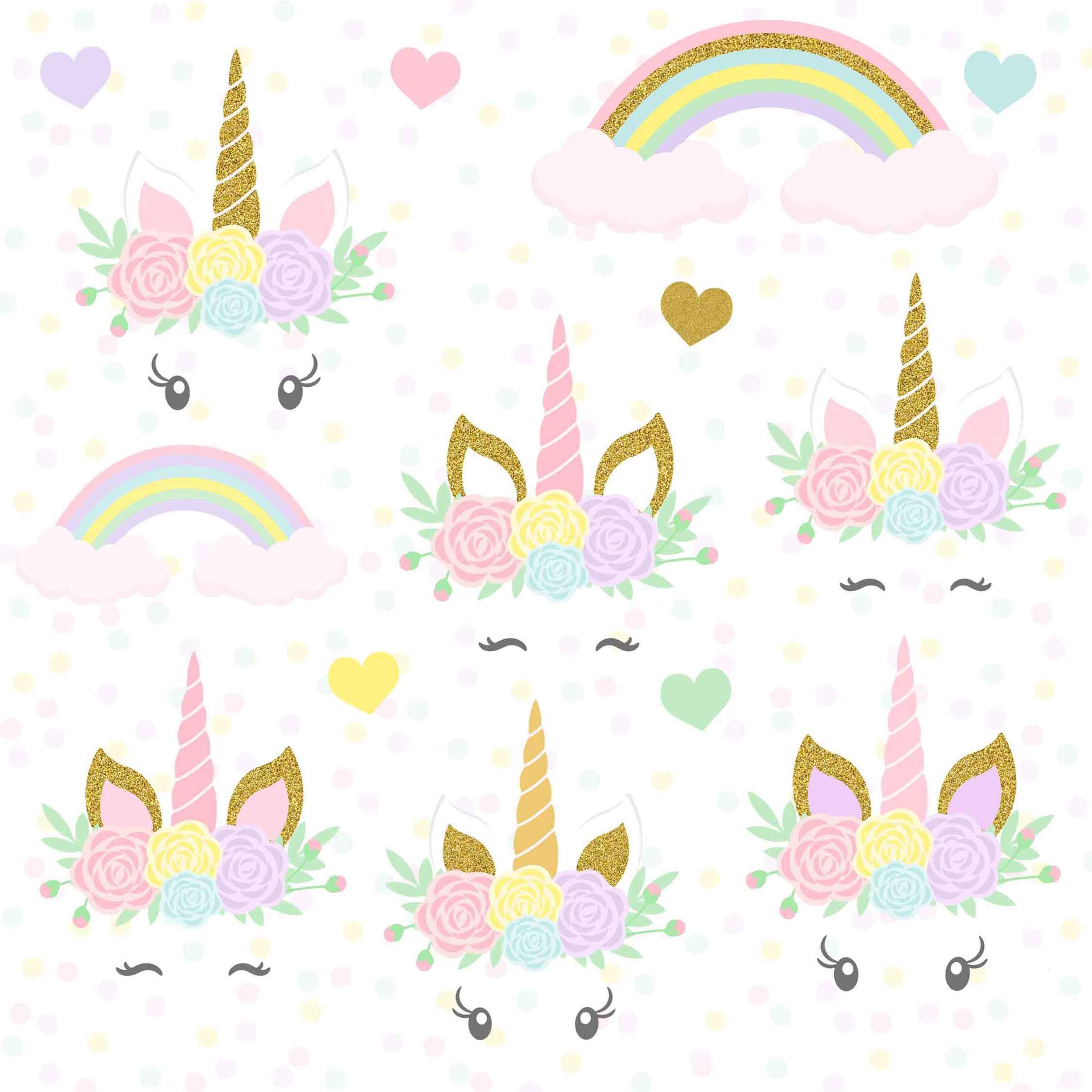 Unicorns clipart, Gold Glitter Unicorns, Unicorn head, Unicorn scrapbook,  Unicorn clipart, Rainbow clipart, Unicorn Digital Paper Pack.