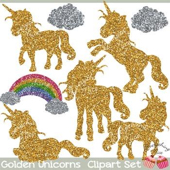 Golden Unicorns Gold Glitter Unicorn Silhouettes Clipart Set.
