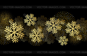 Christmas card with gold snowflakes and glitter.