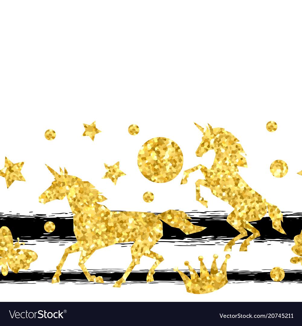 Seamless pattern with unicorns and gold glitter.