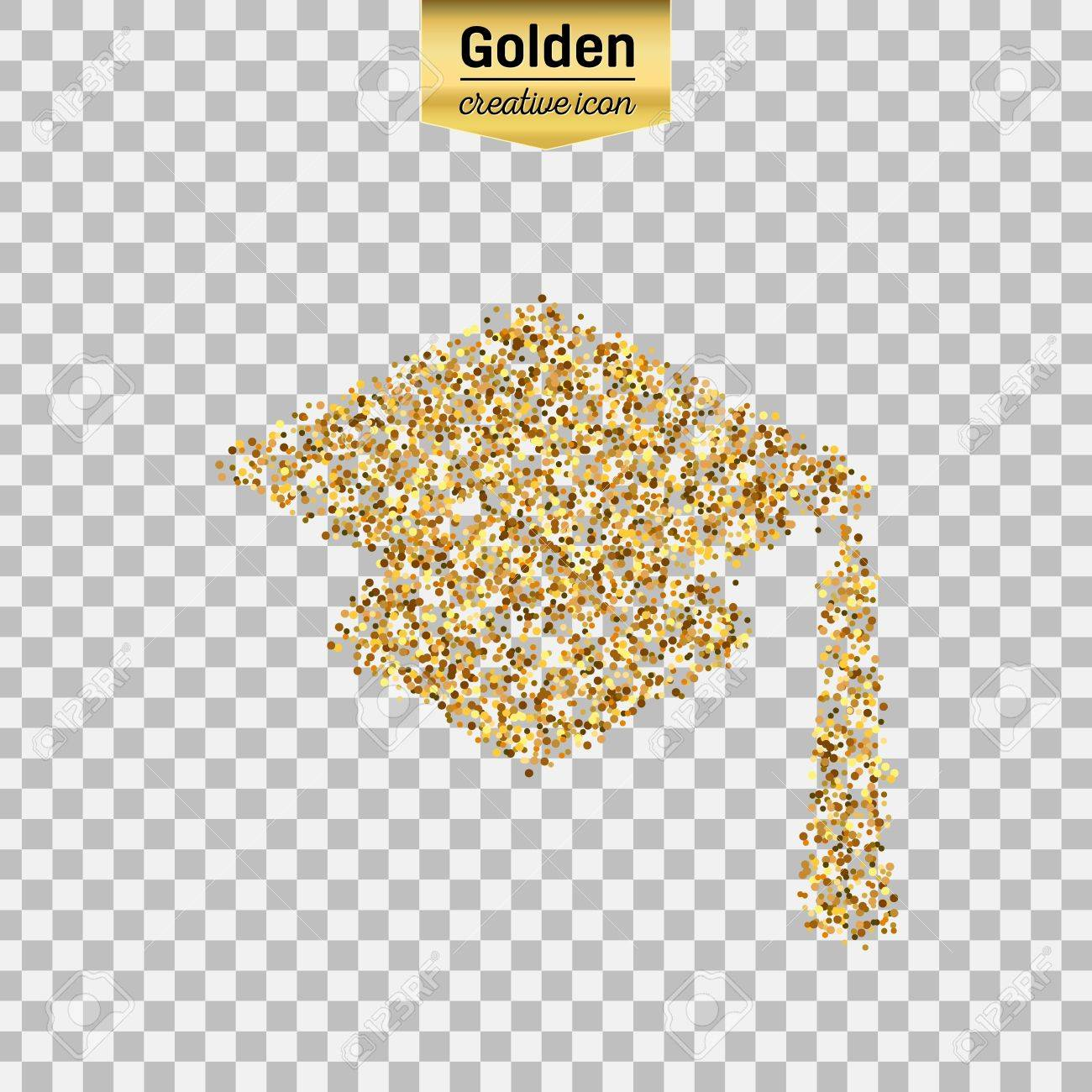 Gold glitter vector icon of square academic cap isolated on background.