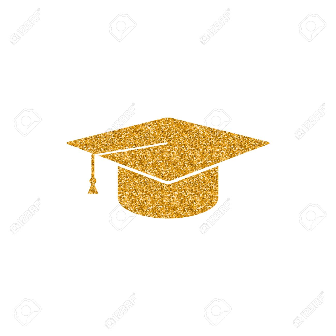 Graduation hat icon in gold glitter texture. Sparkle luxury style...