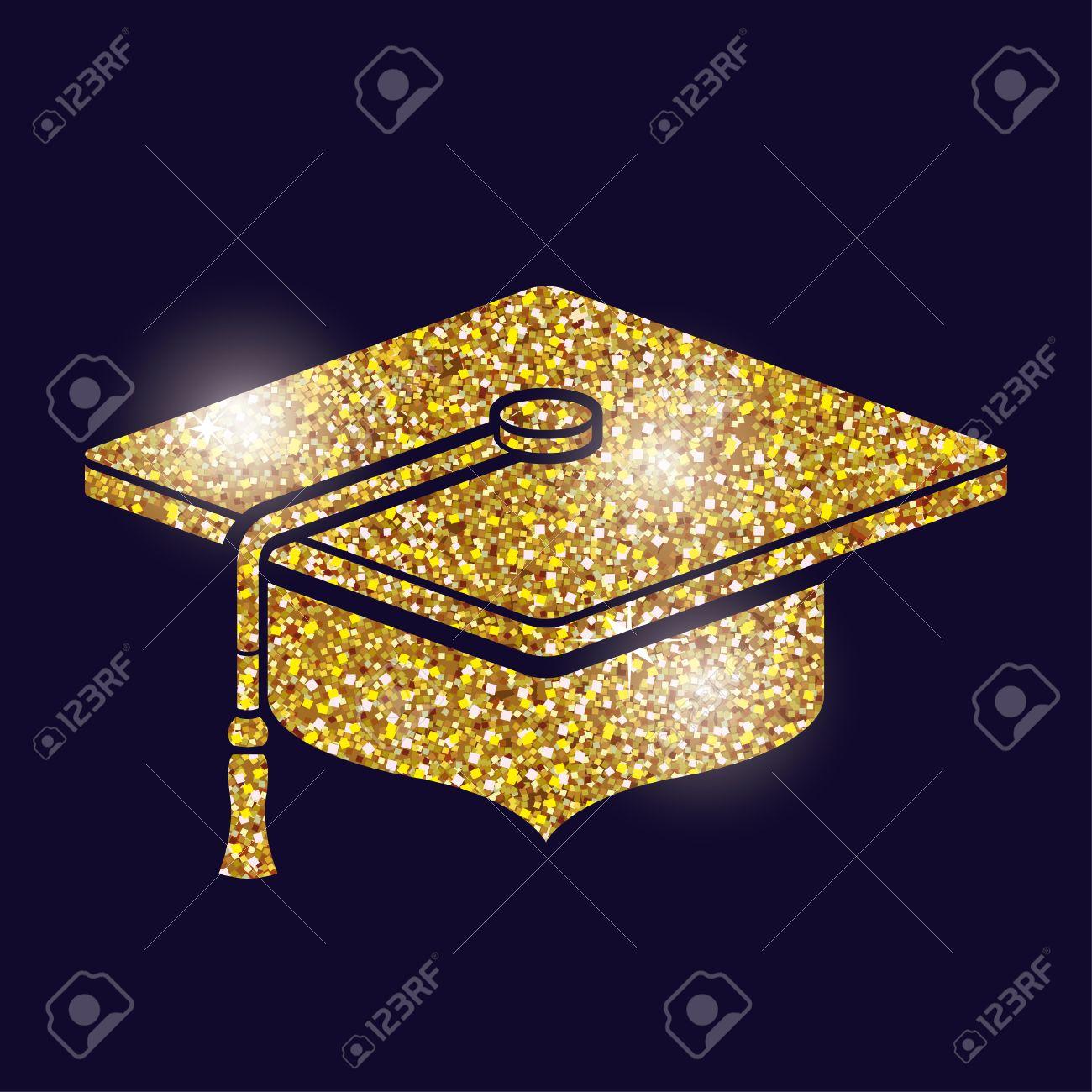 Graduation cap icon. University school and education theme. Gold...