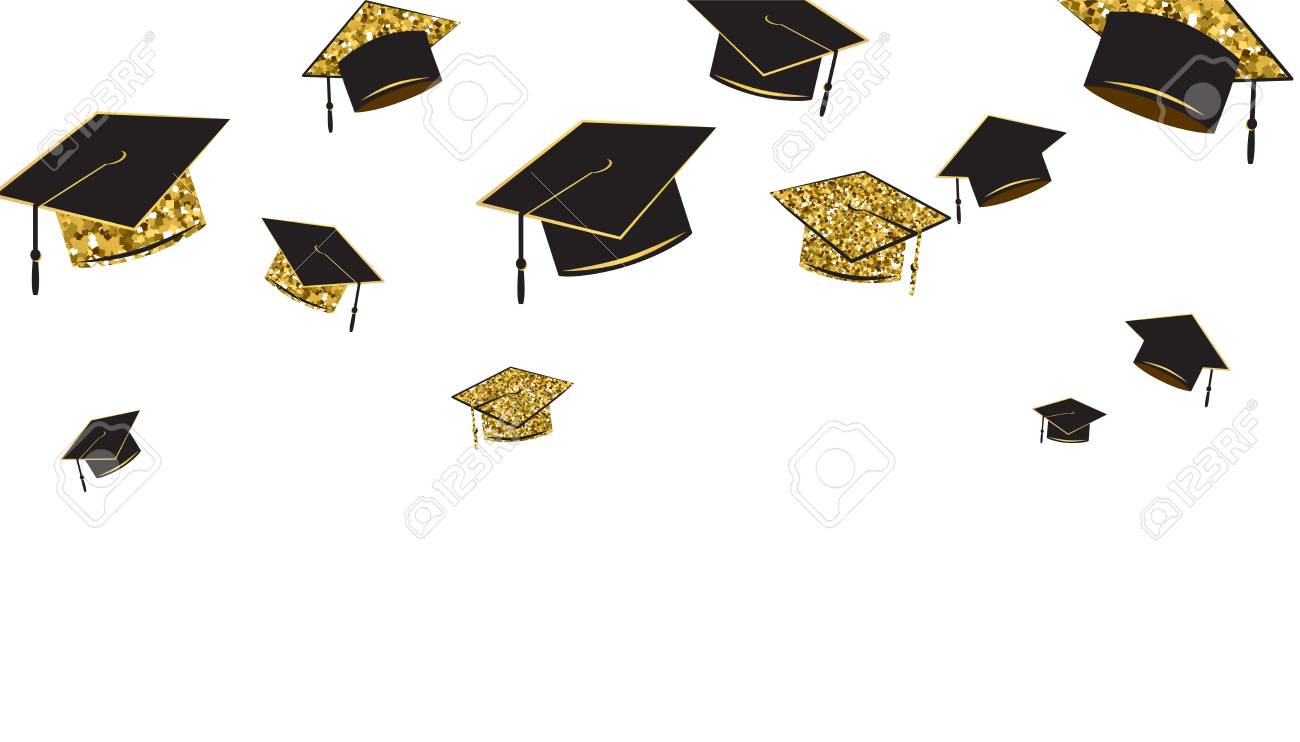 Graduate caps banner, black and gold color on a white background.