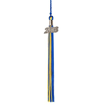 Blue and Gold Graduation Tassel Year 2018 with Silver charm.