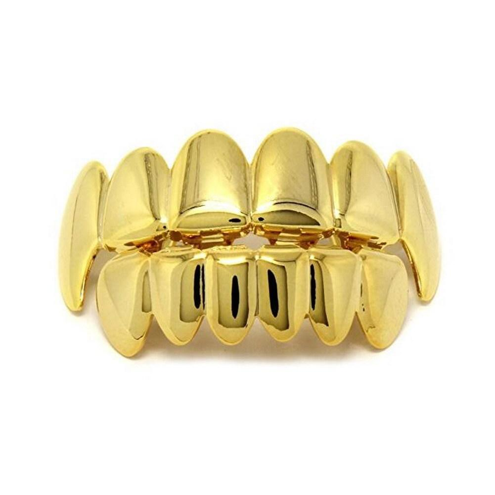 Hot Sale Gold Male Women Hip Hop Teeth Grill Caps Top & Bottom Grills Set  Iced Out CZ Silicone for Superstar Vampire Teeth.