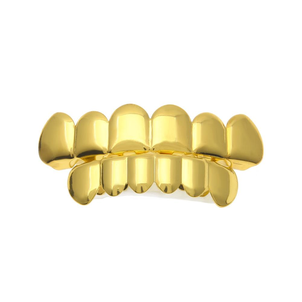New Custom Fit Gold Plated Hip Hop Rock Teeth Grillz Caps Top & Bottom  Grill Set For Halloween Christmas Party Vampire Teeth.