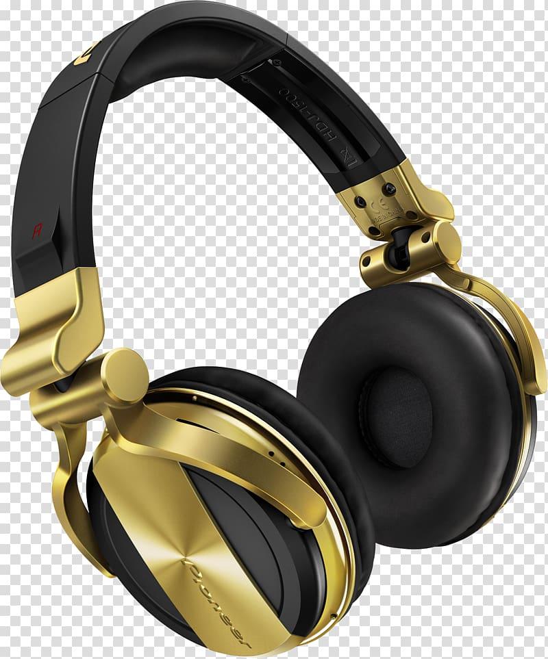 Black and gold wireless headphones, Headphones Disc jockey.