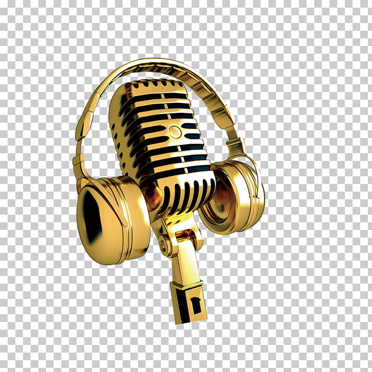 Microphone, Golden Microphone, gold headphones and.