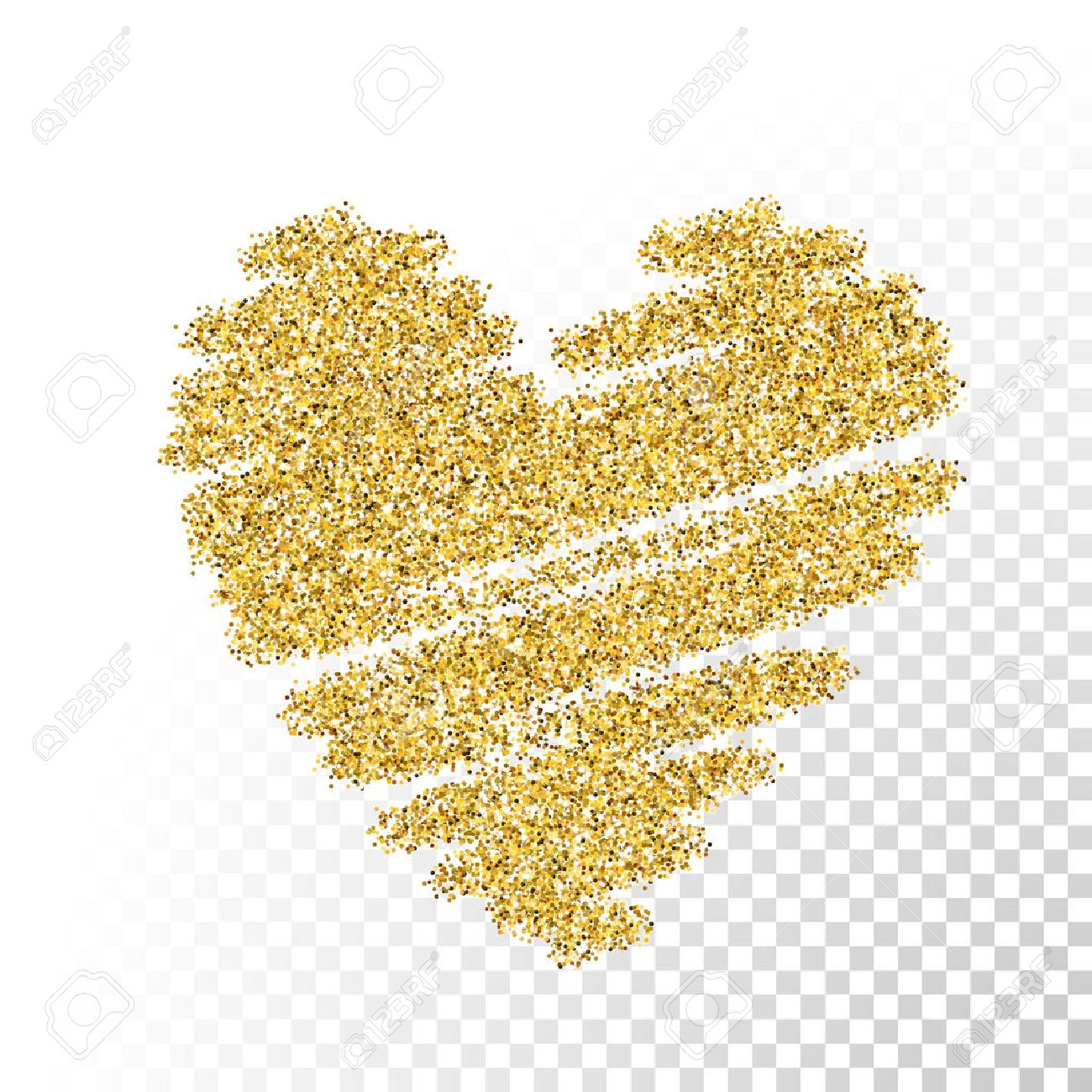 Vector gold glitter particles texture. Spray heart shape on transparent...