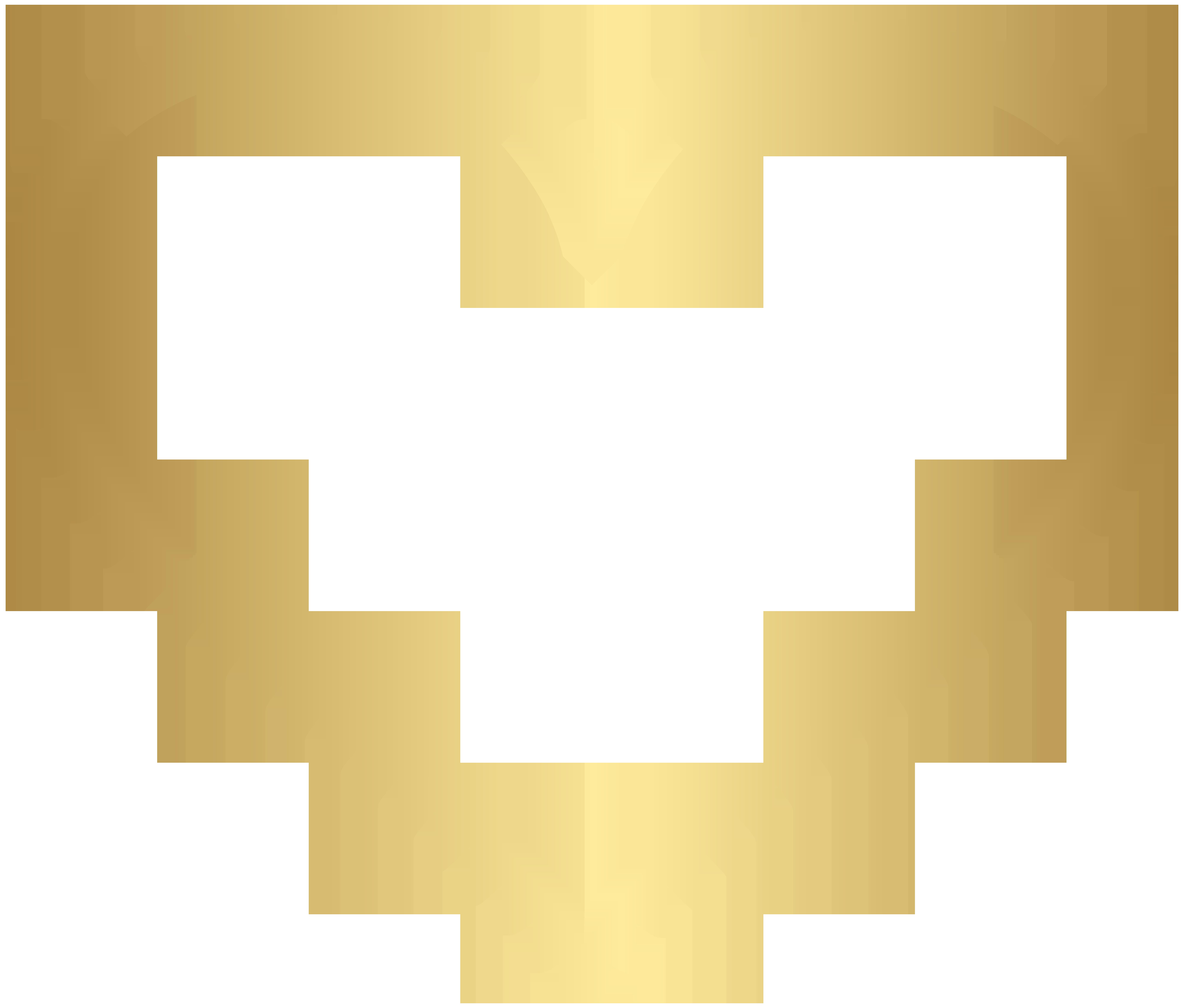Gold Heart Border Frame Transparent PNG Clip Art.