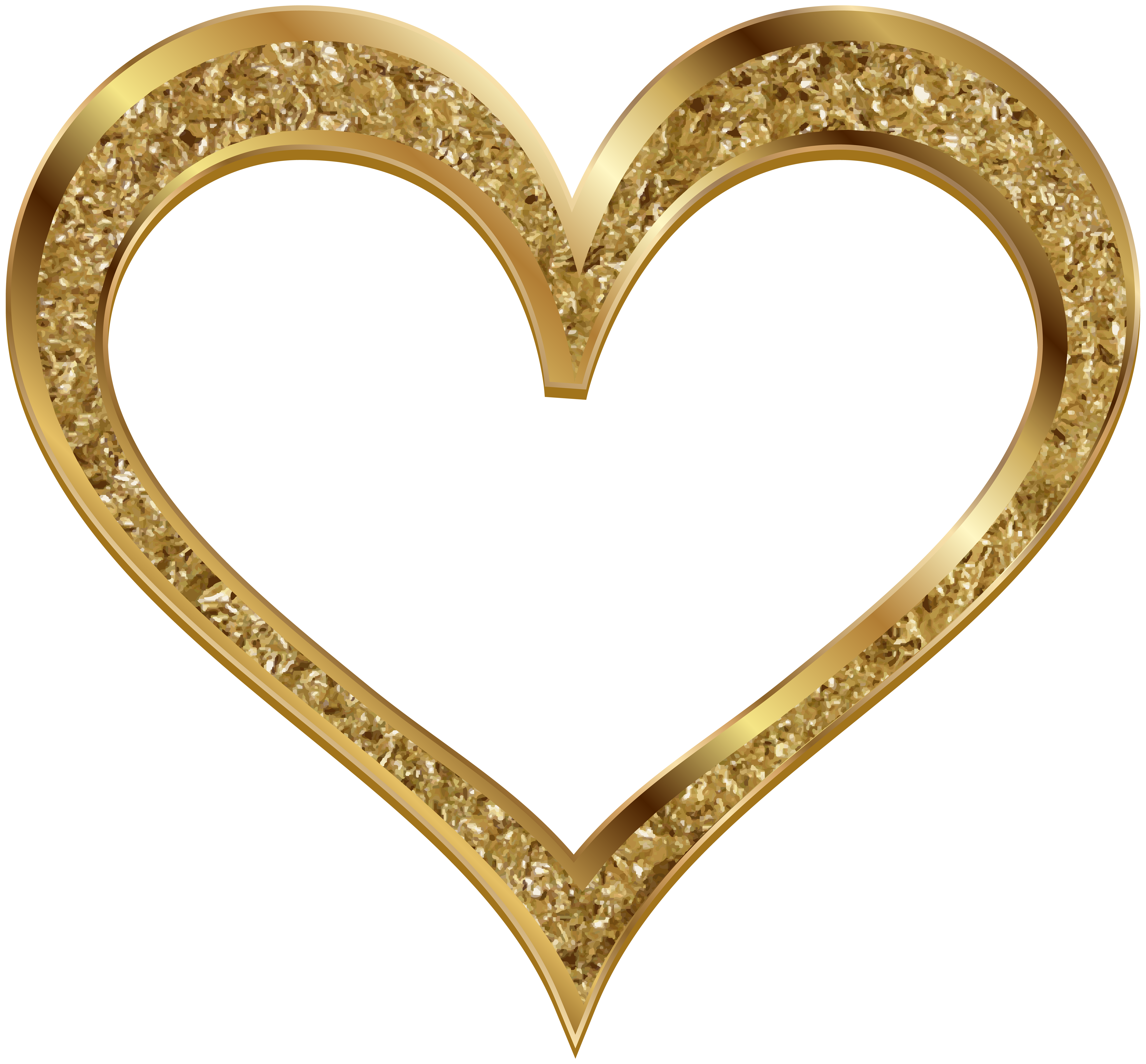 Gold Heart Clip Art PNG Image.