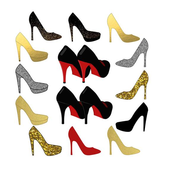 Shoes Clipart, Sparkle Clipart, High Heel Clipart, Wedding Clipart.