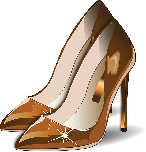 Cartoon Of The Gold High Heeled Shoes Illustrations, Royalty.