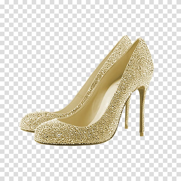 Pair of gold heeled shoes , Rhinestone Court shoe High.