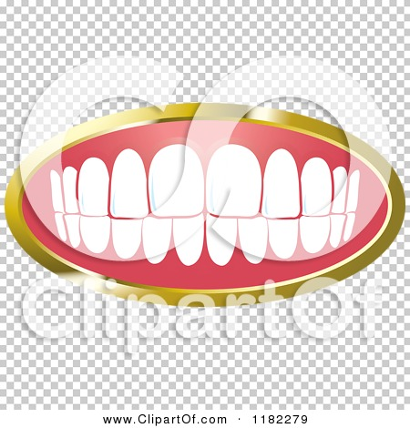 Clipart of a Human Teeth with a Gold Frame 2.
