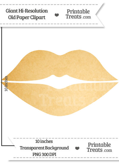 Old Paper Giant Lips Clipart — Printable Treats.com.