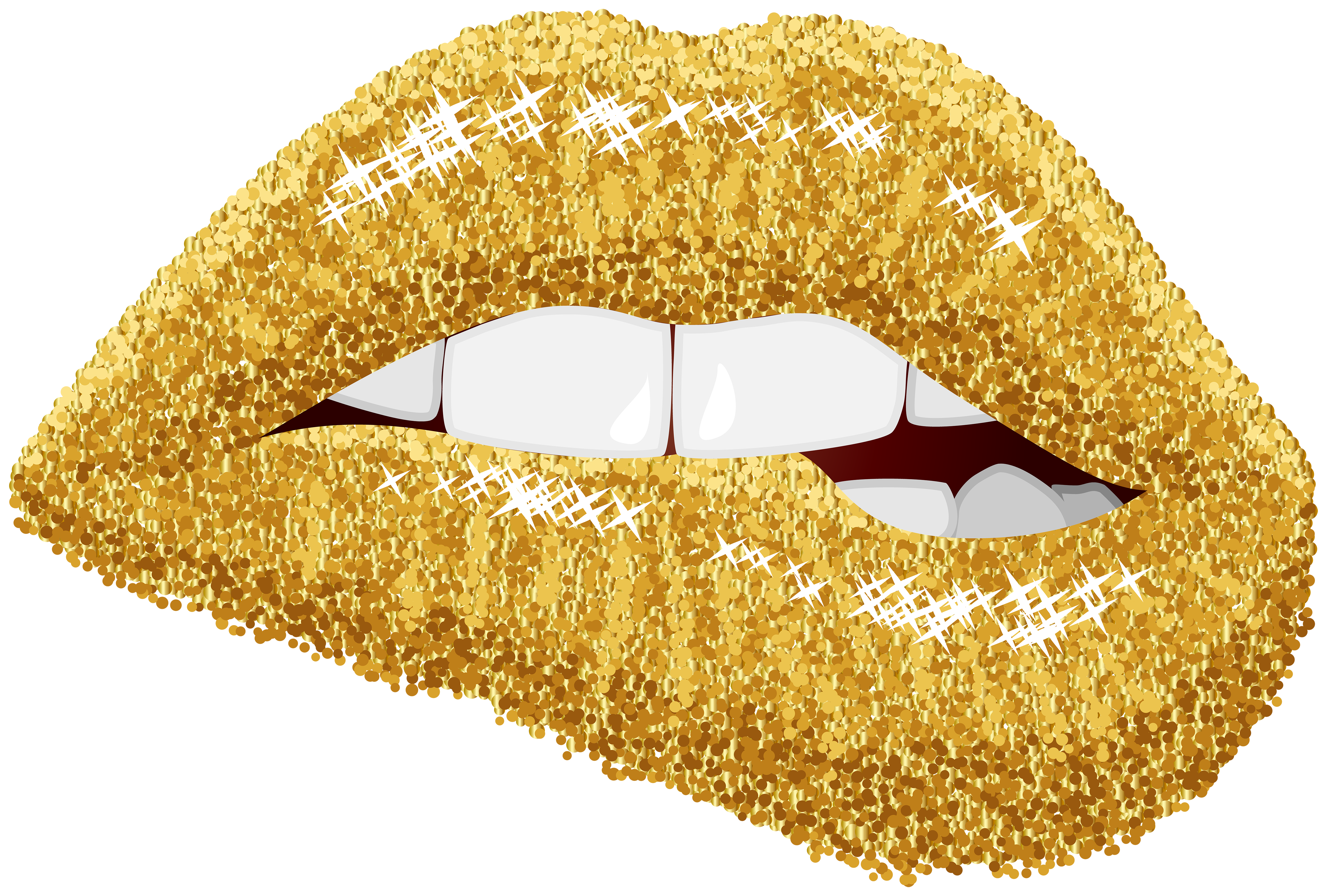 Gold Lips PNG Clip Art Image.
