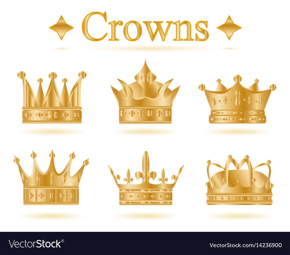 Set of gold king crown.