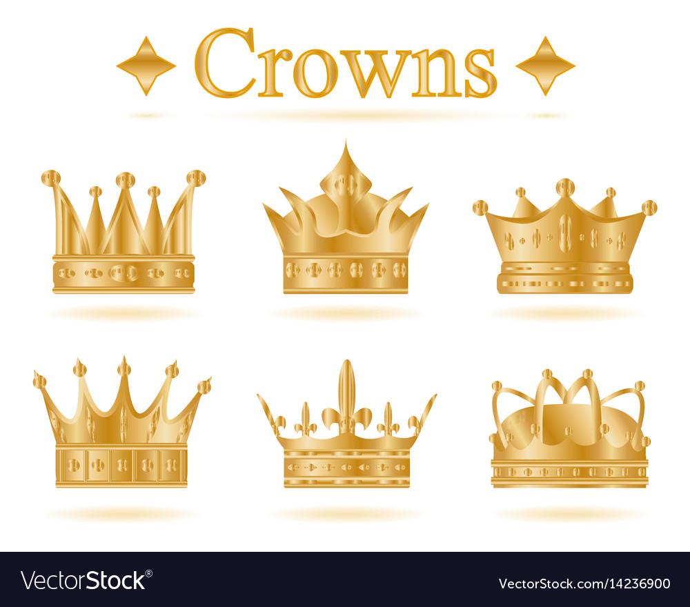 Set of gold king crown.
