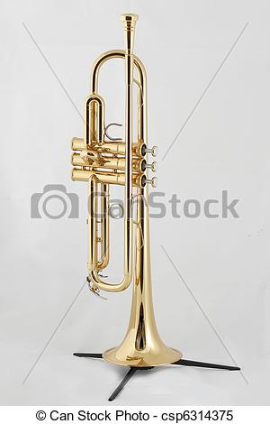 Stock Images of golden trumpet on a stand.