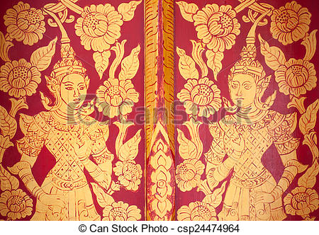 Stock Image of thai gold lacquer gilt temple door detail.