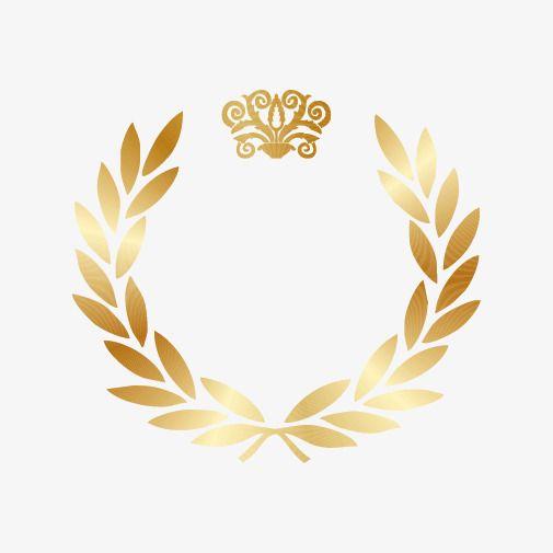 Gold Laurel Wreath Gold, Golden, Wreath, Olive Branch PNG.