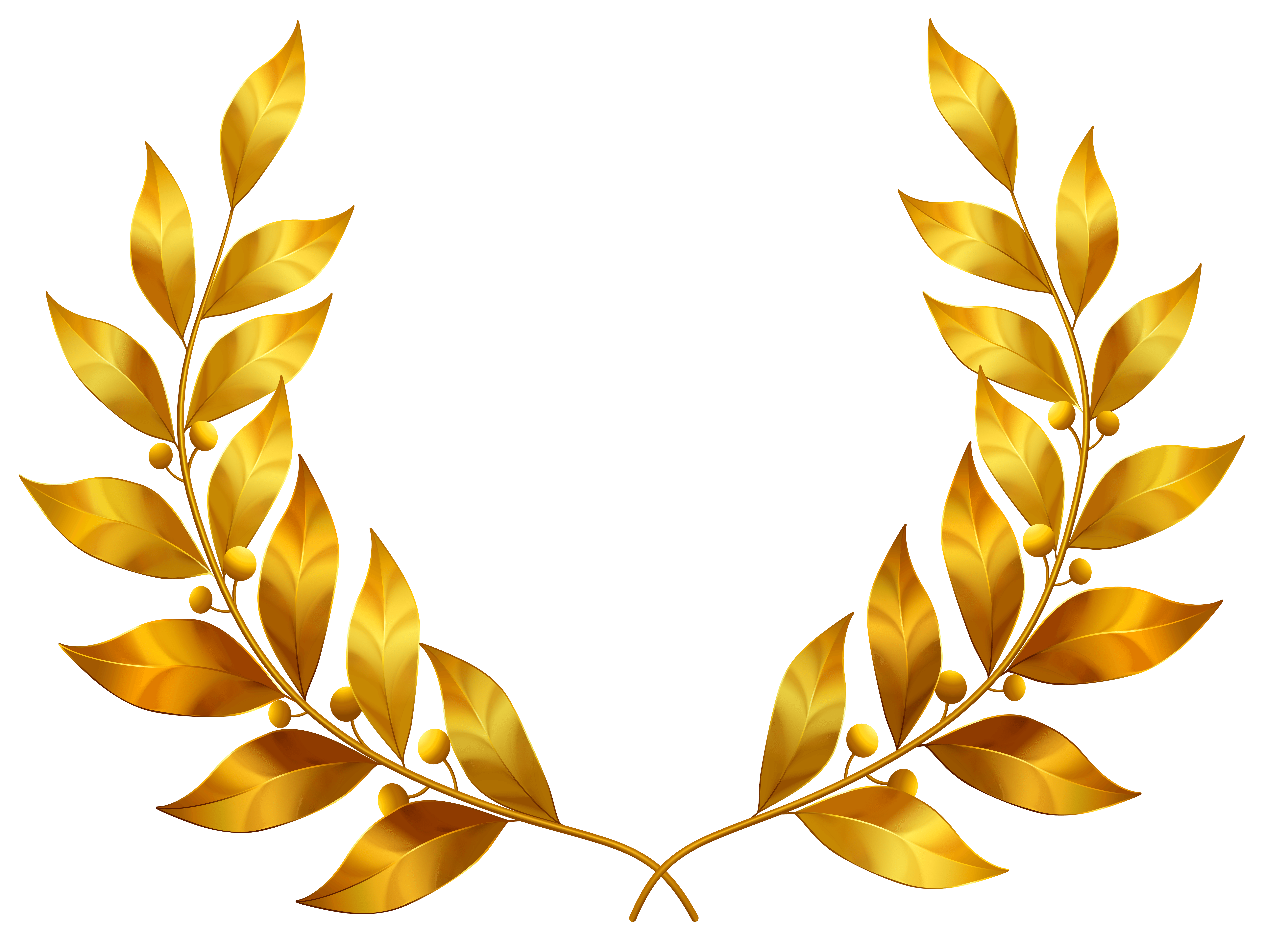 Gold leaf clipart front view.