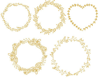 Gold leaf wreath clipart.