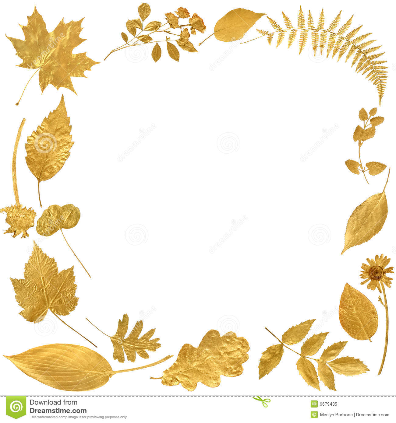 Festive Golden Leaf Border Royalty Free Stock Image.