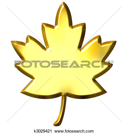 Clipart of 3D Golden Canadian Leaf k3029421.