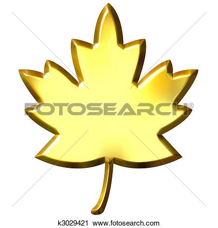 Clipart of 3D Golden Canadian Leaf k3029421.