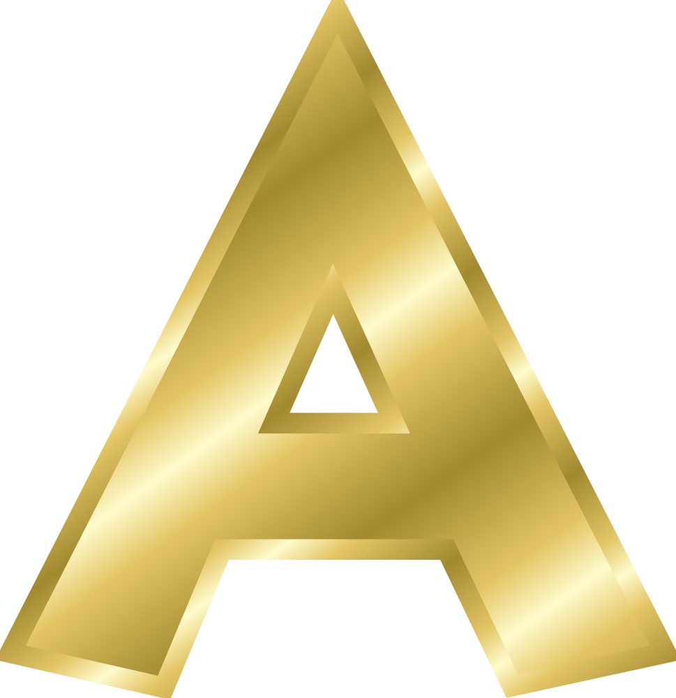 Effect Letters alphabet gold.
