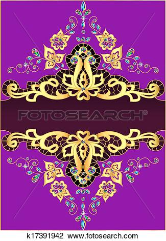 Clipart of lilac background with gold ornament and precious stones.