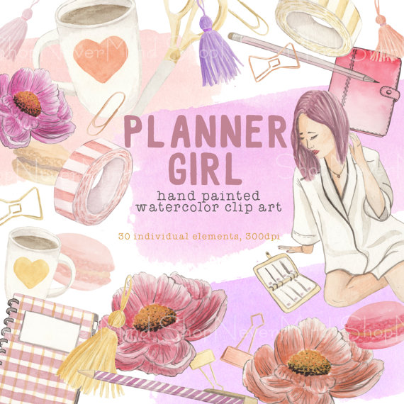 Planner Girl clip art set watercolor hand painted by ShopNeverMind.