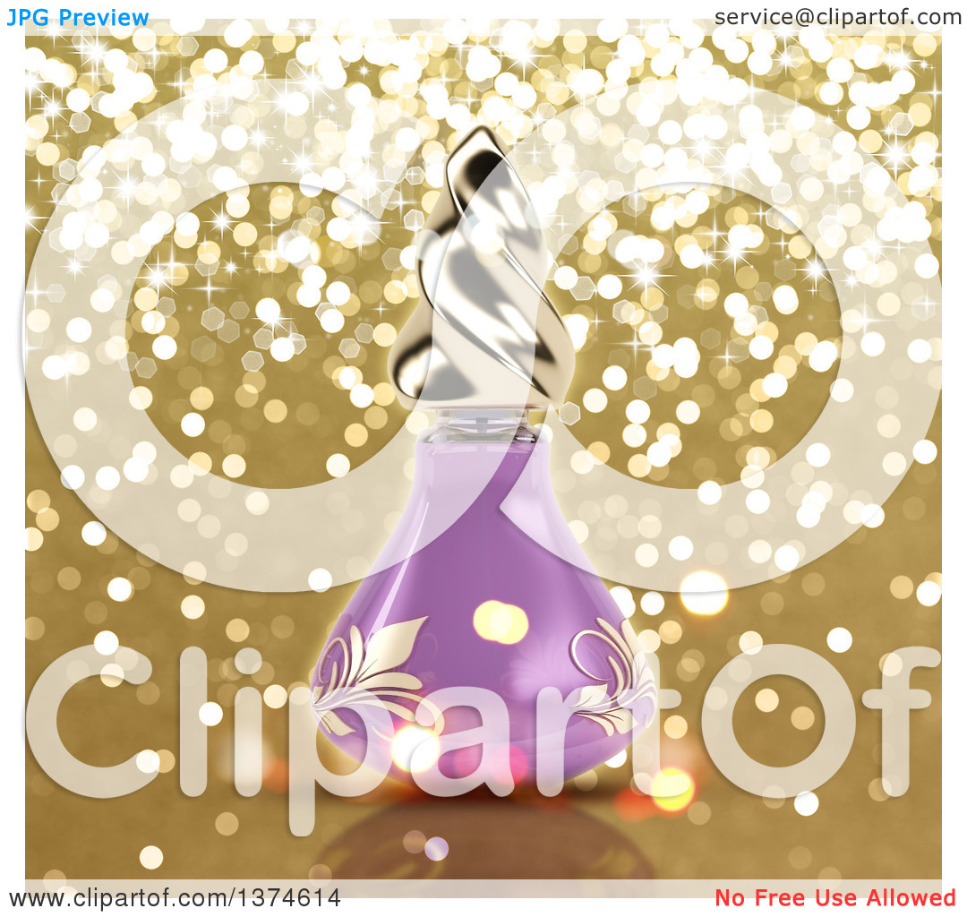 Clipart of a 3d Purple Floral Perfume Bottle over Gold Glitter.