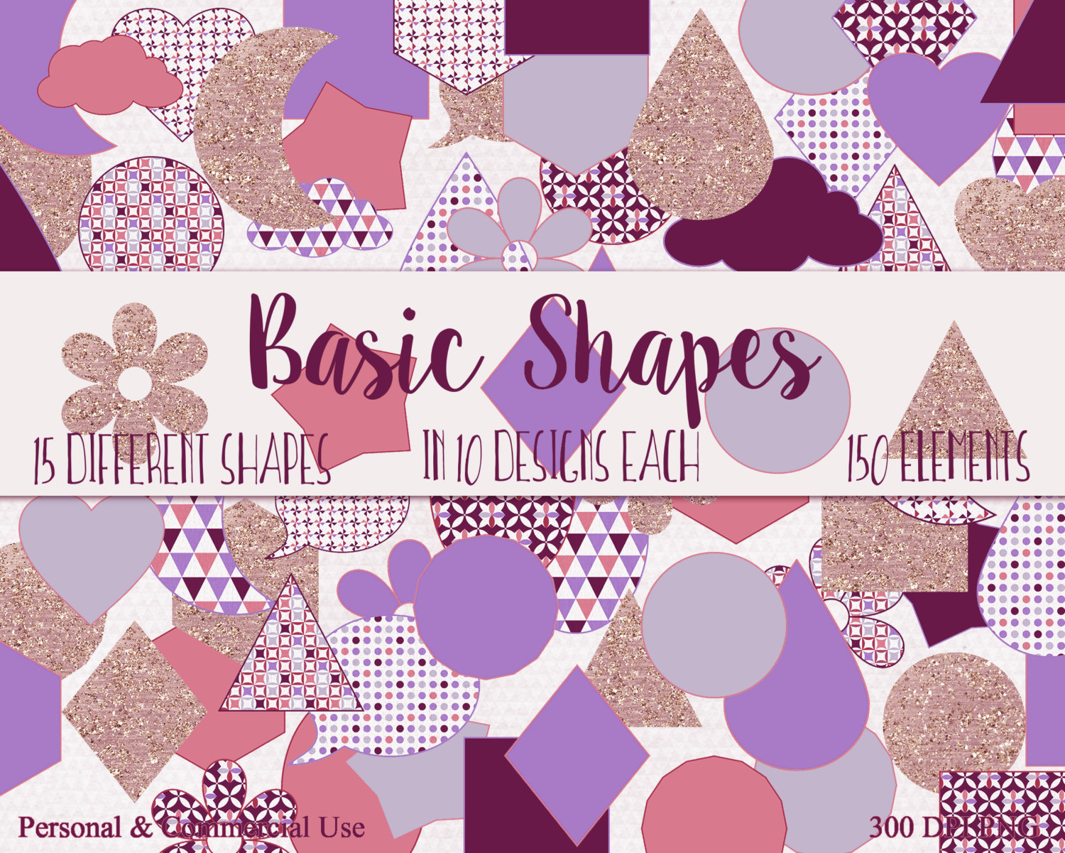 BASIC SHAPES Clip Art Commercial Use Clipart Purple Pink & Rose.